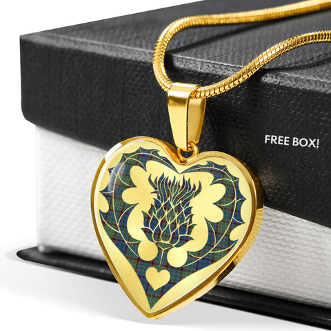 Nicolson Hunting Ancient Tartan Luxury Necklace Heart Shape Thistle
