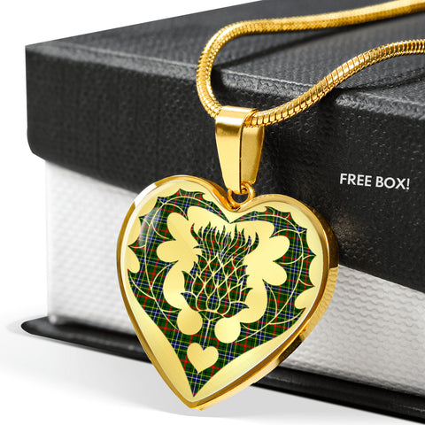 Image of Bisset Tartan Luxury Necklace Heart Shape Thistle