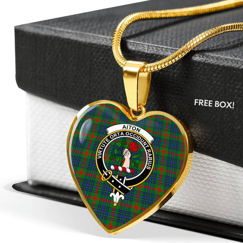 Aiton Tartan Crest Heart Necklace
