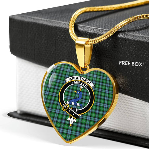 Arbuthnott Tartan Crest Heart Necklace