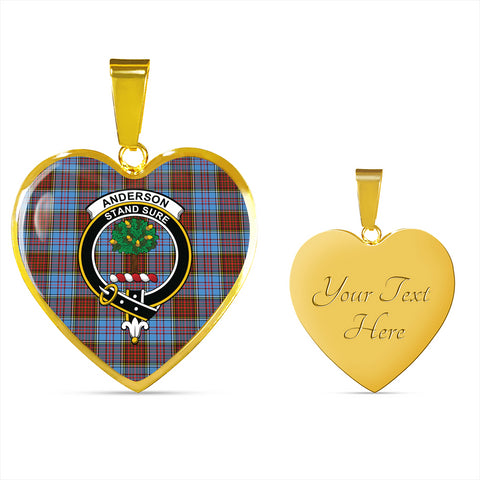 Anderson Modern Tartan Crest Heart Necklace HJ4 (Backside Engraved is not available now)