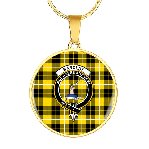 Image of Barclay Dress Modern Tartan Crest Circle Necklace