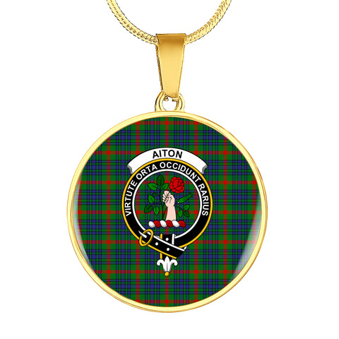 Aiton Tartan Crest Circle Necklace