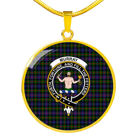 Murray of Atholl Modern Tartan Crest Circle Necklace HJ4