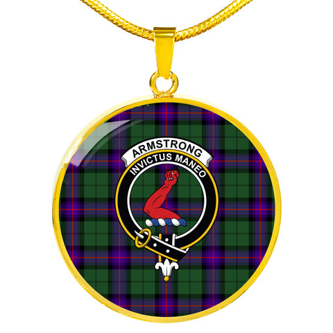 Image of Armstrong Modern Tartan Crest Circle Necklace HJ4