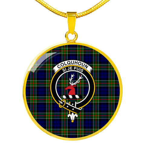 Image of Colquhoun Modern Tartan Crest Circle Necklace HJ4