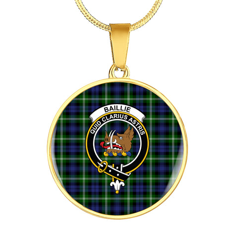 Baillie Modern Tartan Crest Circle Necklace