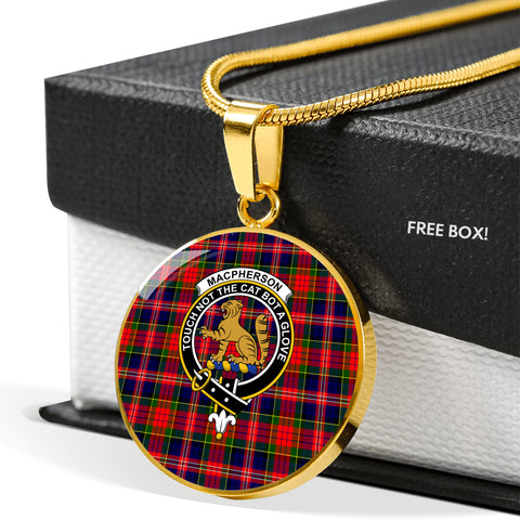 Image of MacPherson Modern Tartan Crest Circle Necklace HJ4