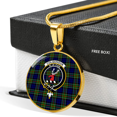 Colquhoun Modern Tartan Crest Circle Necklace HJ4