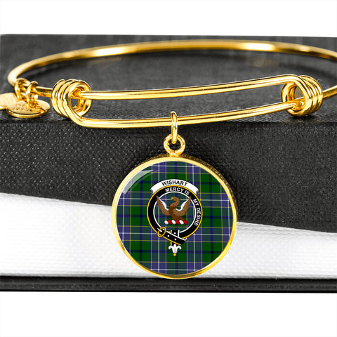 Wishart Hunting Tartan Crest Circle Bangle HJ4