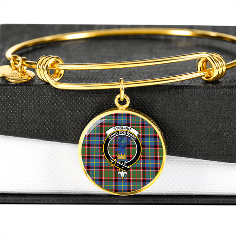 Stirling (of Cadder-Present Chief)  Tartan Crest Circle Bangle HJ4