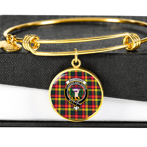 Buchanan Modern  Tartan Crest Circle Bangle HJ4