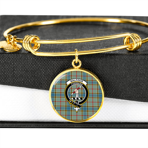Balfour Blue  Tartan Crest Circle Bangle HJ4