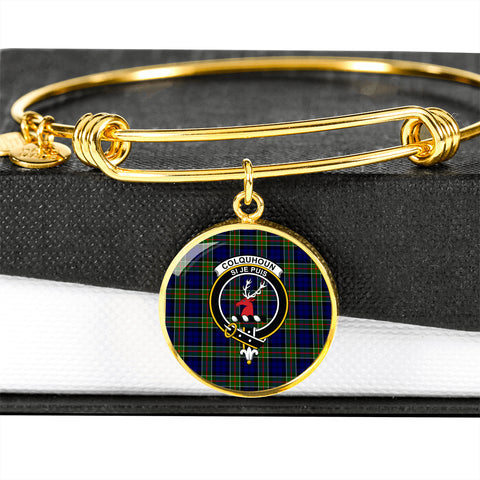 Colquhoun Modern  Tartan Crest Circle Bangle HJ4