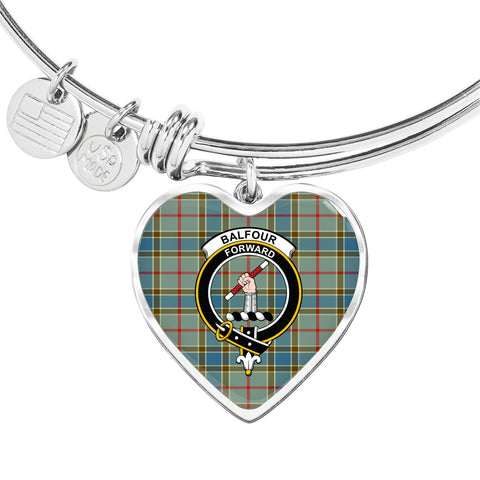 Balfour Blue  Tartan Crest Heart Bangle HJ4