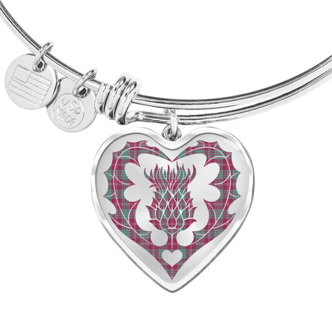 Image of Crawford Ancient Tartan Bangle Thistle Heart Shape TH8