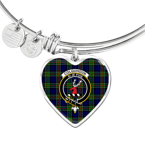 Image of Colquhoun Modern  Tartan Crest Heart Bangle HJ4