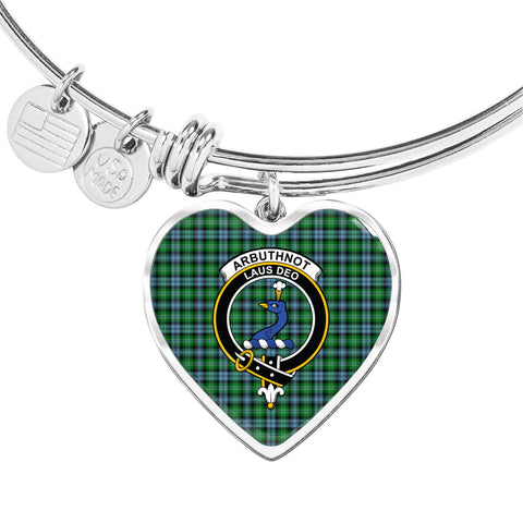 Image of Arbuthnott  Tartan Crest Heart Bangle HJ4