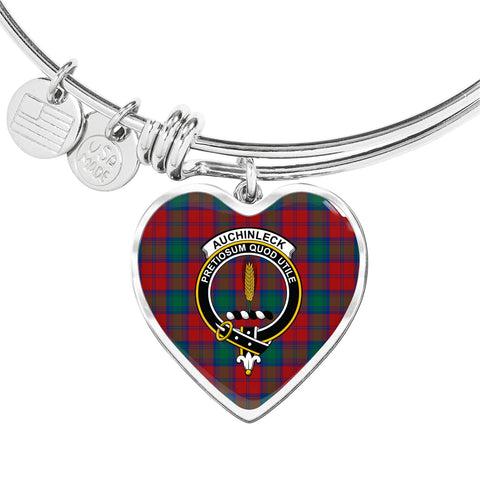 Auchinleck  Tartan Crest Heart Bangle HJ4