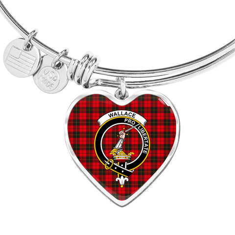 Image of Wallace Weathered Tartan Crest Heart Bangle HJ4
