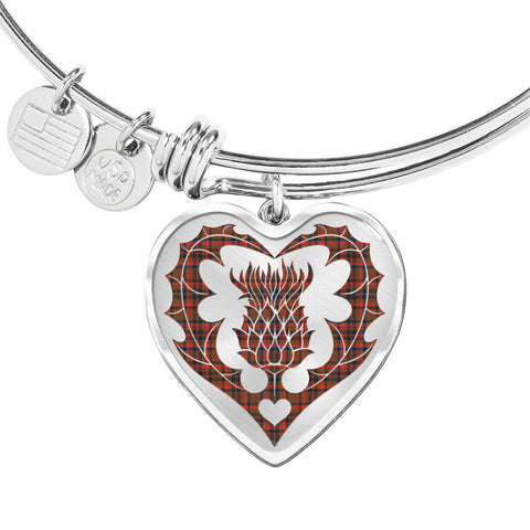 Cumming Hunting Weathered Tartan Bangle Thistle Heart Shape TH8