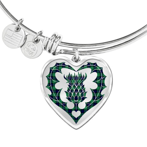 Image of Abercrombie Tartan Bangle Thistle Heart Shape TH8