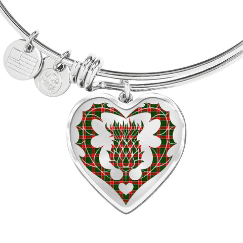 Pollock Modern Tartan Bangle Thistle Heart Shape TH8