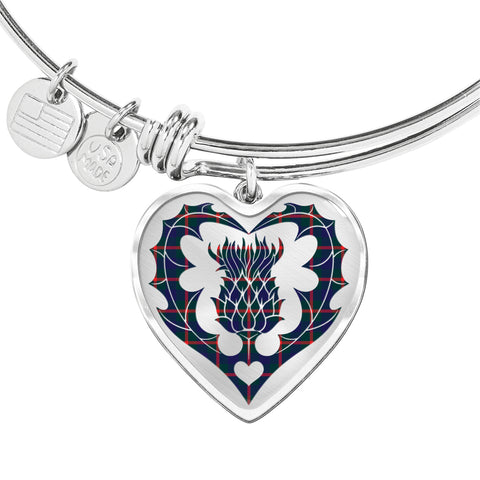 Image of Agnew Modern Tartan Bangle Thistle Heart Shape TH8