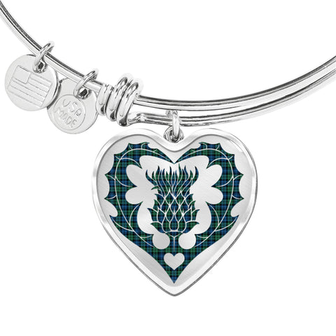 Campbell Ancient 02 Tartan Bangle Thistle Heart Shape TH8