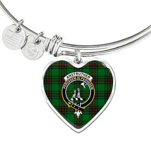 Image of Anstruther  Tartan Crest Heart Bangle HJ4