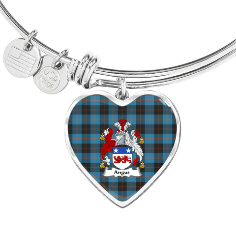 Angus Ancient Tartan Crest Heart Bangle