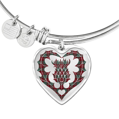 Image of Crawford Modern Tartan Bangle Thistle Heart Shape TH8