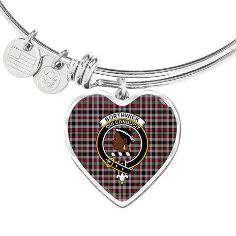 Borthwick Ancient  Tartan Crest Heart Bangle HJ4