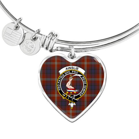 Ainslie Tartan Crest Heart Bangle