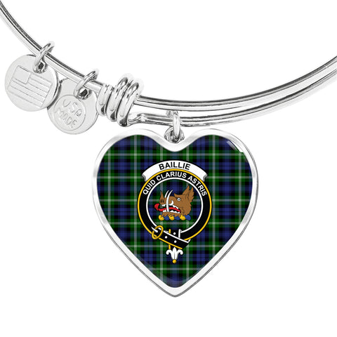 Baillie Modern  Tartan Crest Heart Bangle HJ4