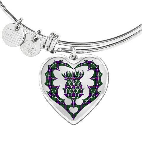 Armstrong Modern Tartan Bangle Thistle Heart Shape TH8