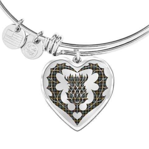 Campbell Argyll Weathered Tartan Bangle Thistle Heart Shape TH8