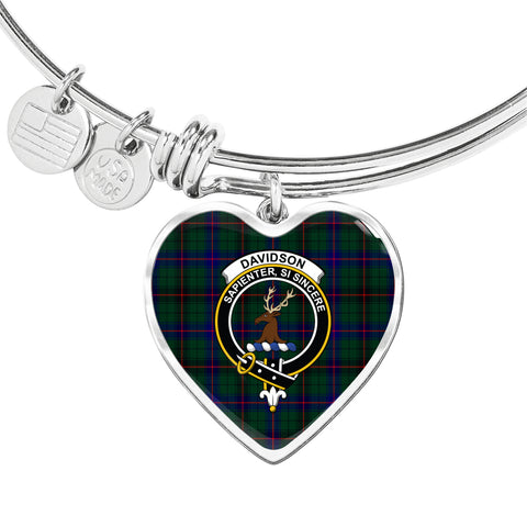 Image of Davidson Modern  Tartan Crest Heart Bangle HJ4