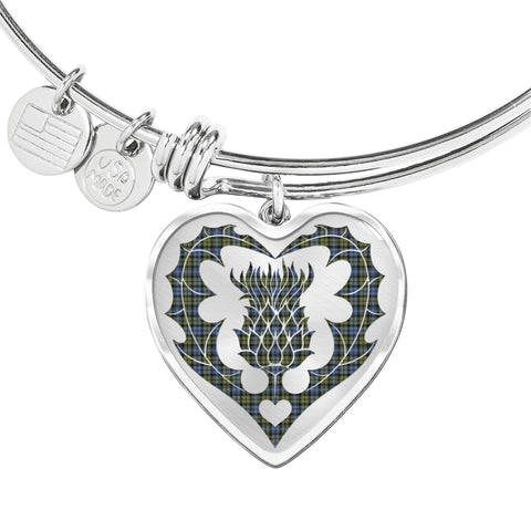 Campbell Faded Tartan Bangle Thistle Heart Shape TH8