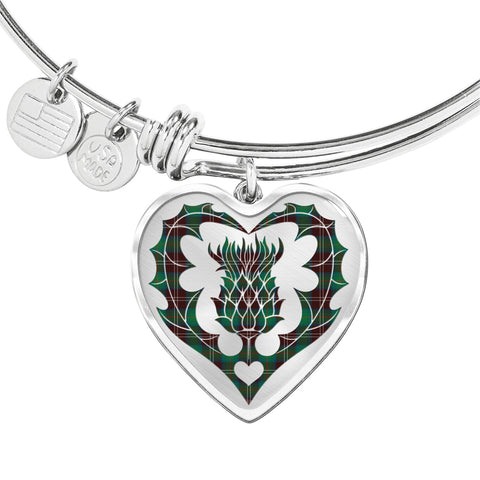 Image of Chisholm Hunting Ancient Tartan Bangle Thistle Heart Shape TH8