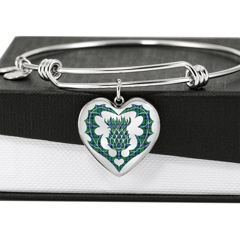 Armstrong Ancient Tartan Bangle Thistle Heart Shape
