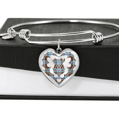 Image of Anderson Ancient Tartan Bangle Thistle Heart Shape