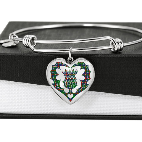 Image of Aiton Tartan Bangle Thistle Heart Shape