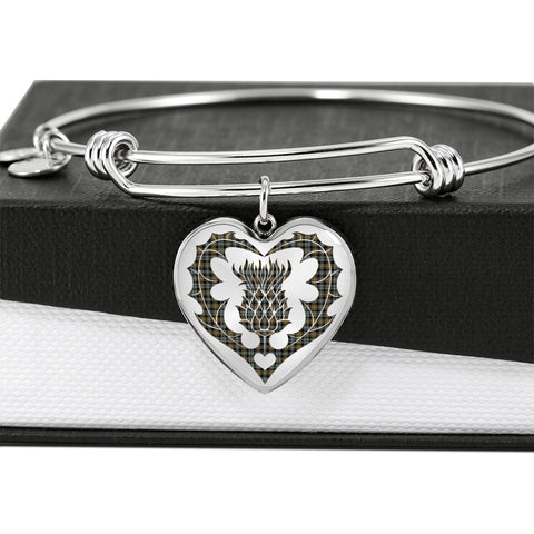 Campbell Argyll Weathered Tartan Bangle Thistle Heart Shape