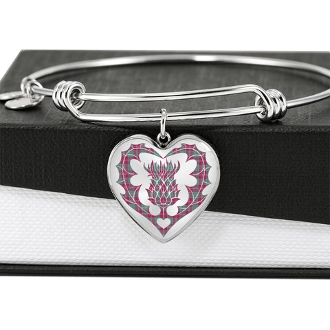 Image of Crawford Ancient Tartan Bangle Thistle Heart Shape