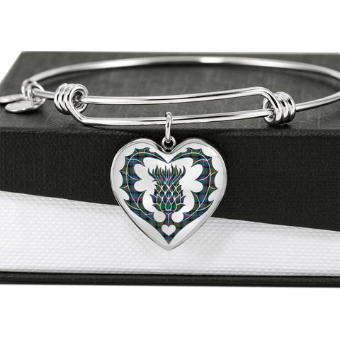 Cameron of Erracht Ancient Tartan Bangle Thistle Heart Shape