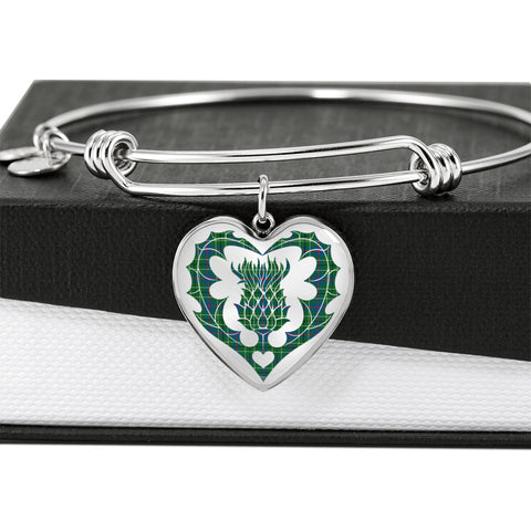 Duncan Ancient Tartan Bangle Thistle Heart Shape