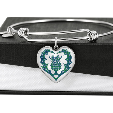 Image of Douglas Ancient Tartan Bangle Thistle Heart Shape