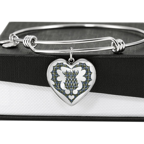 Campbell Faded Tartan Bangle Thistle Heart Shape