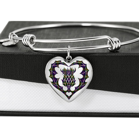 Cameron of Erracht Modern Tartan Bangle Thistle Heart Shape